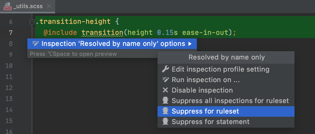 Suppress inspections in Style Sheets