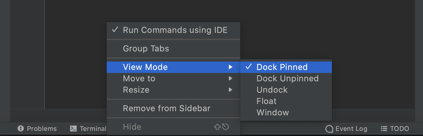 Tool windows bar and buttons