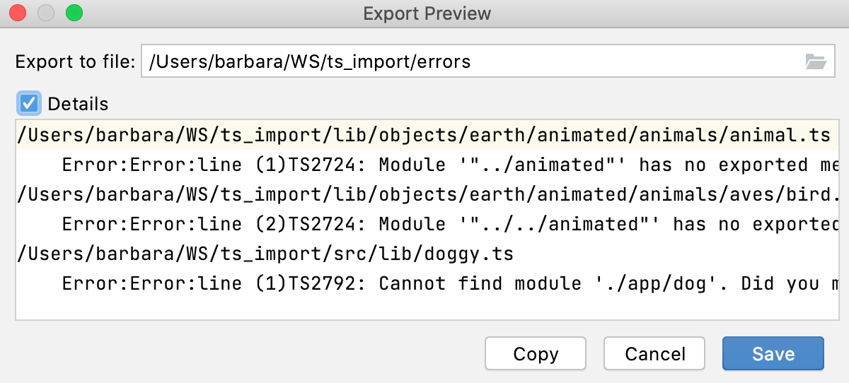 TypeScript tool window: Export Preview