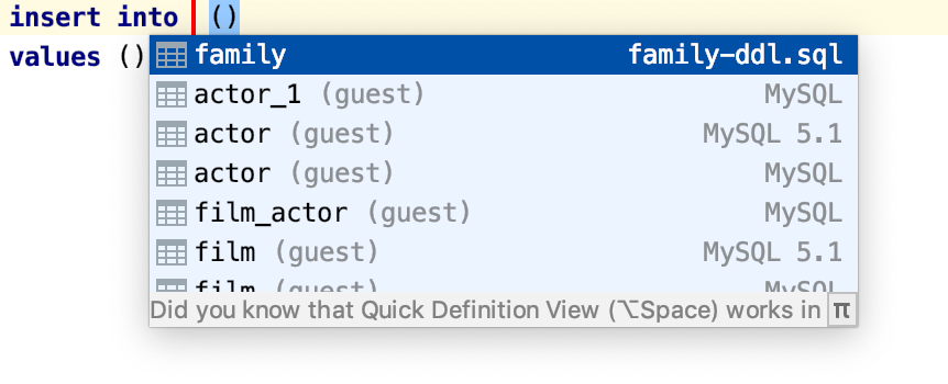 Paste the table name