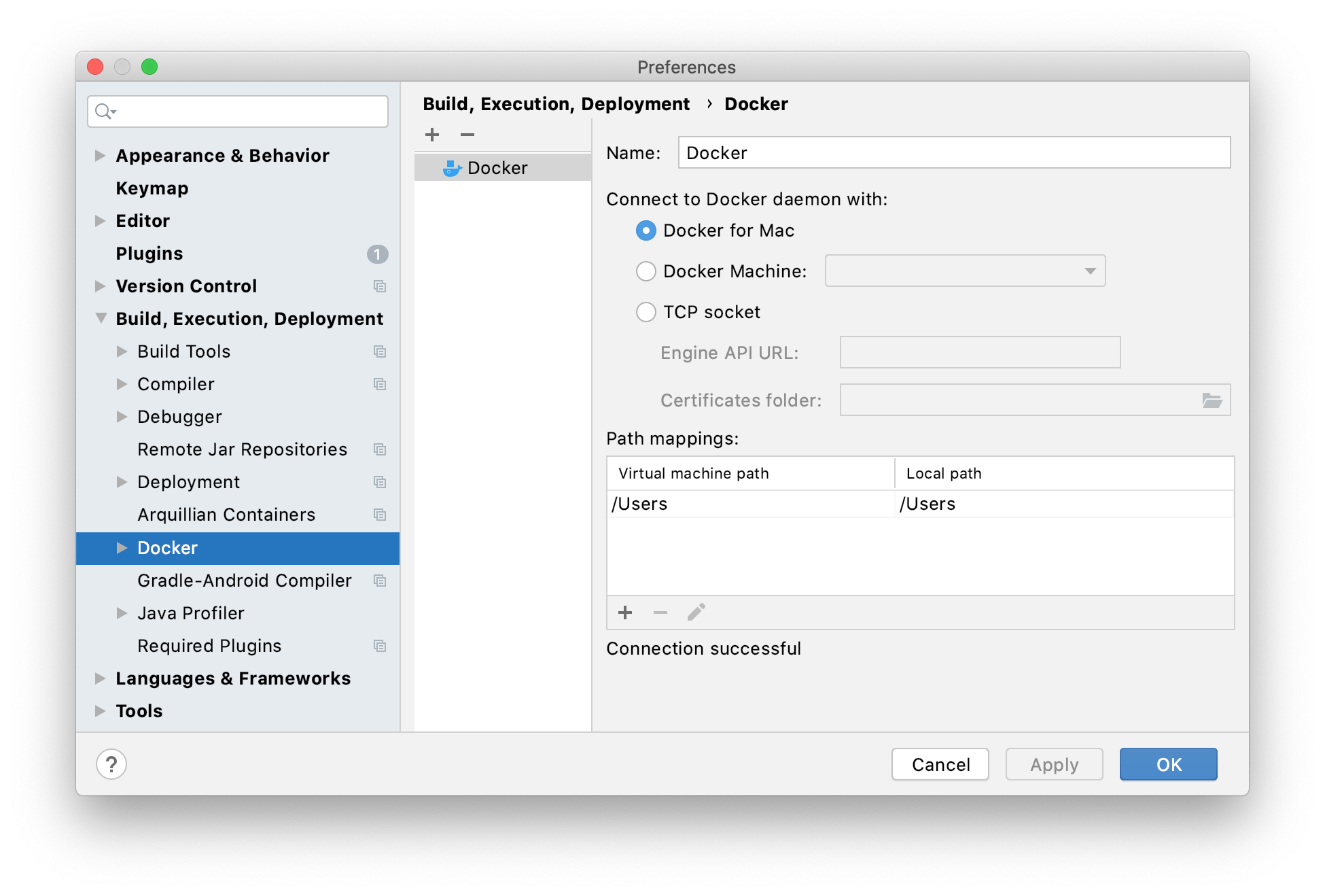 The Docker connection settings