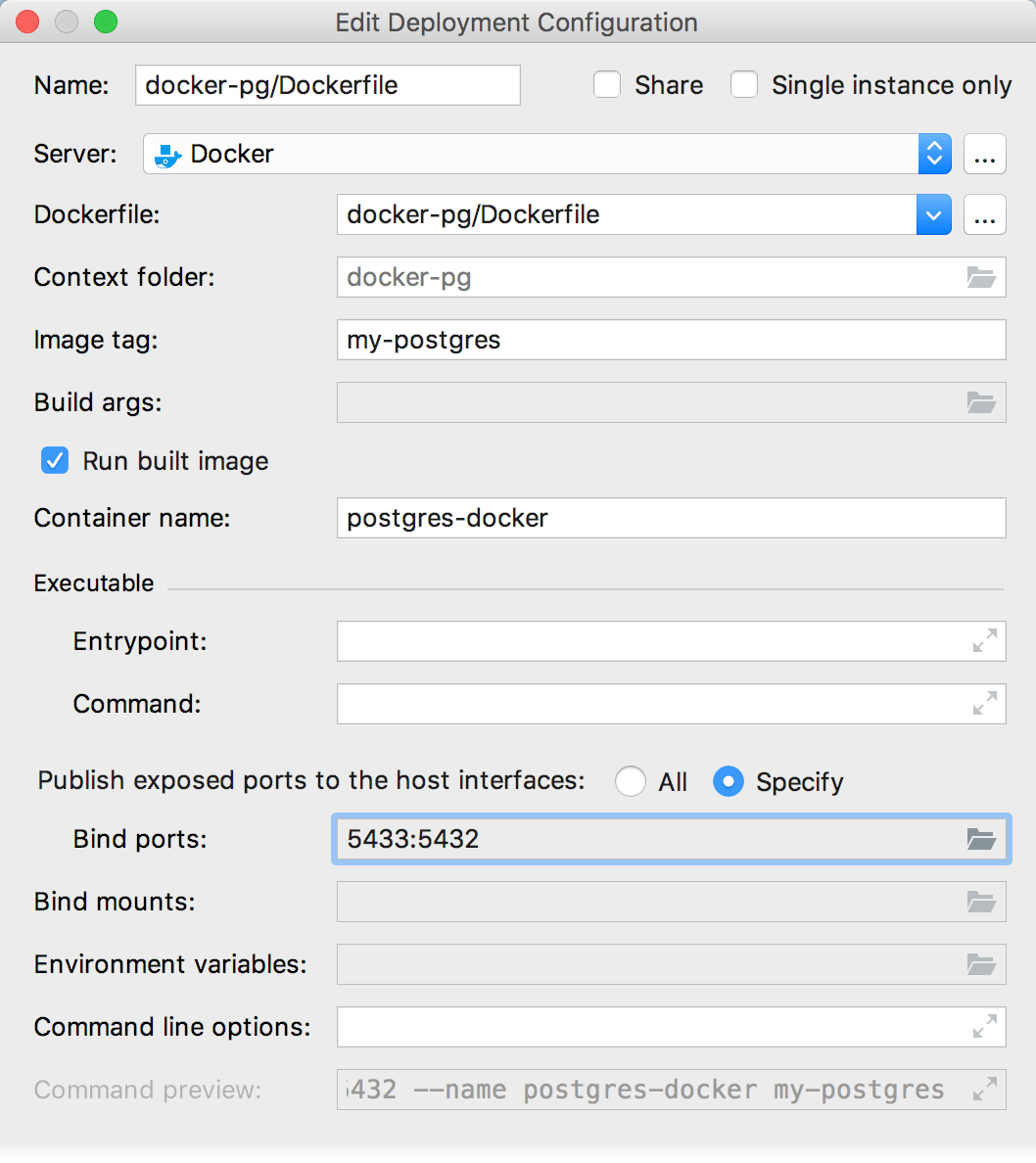 The Edit Deployment Configuration dialog with bind ports