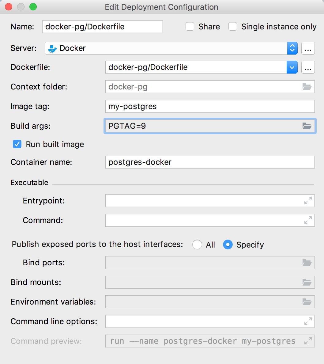 The Edit Deployment Configuration dialog with build-time arguments