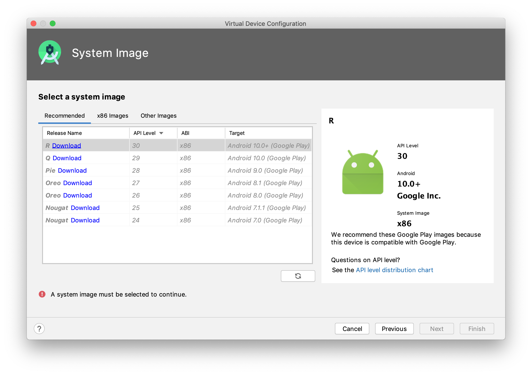 Android AVD manager step 3