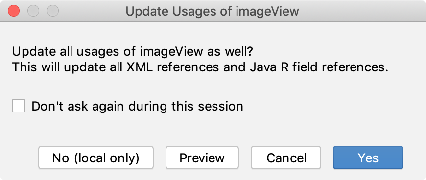 Update 'Usages of imageView' dialog