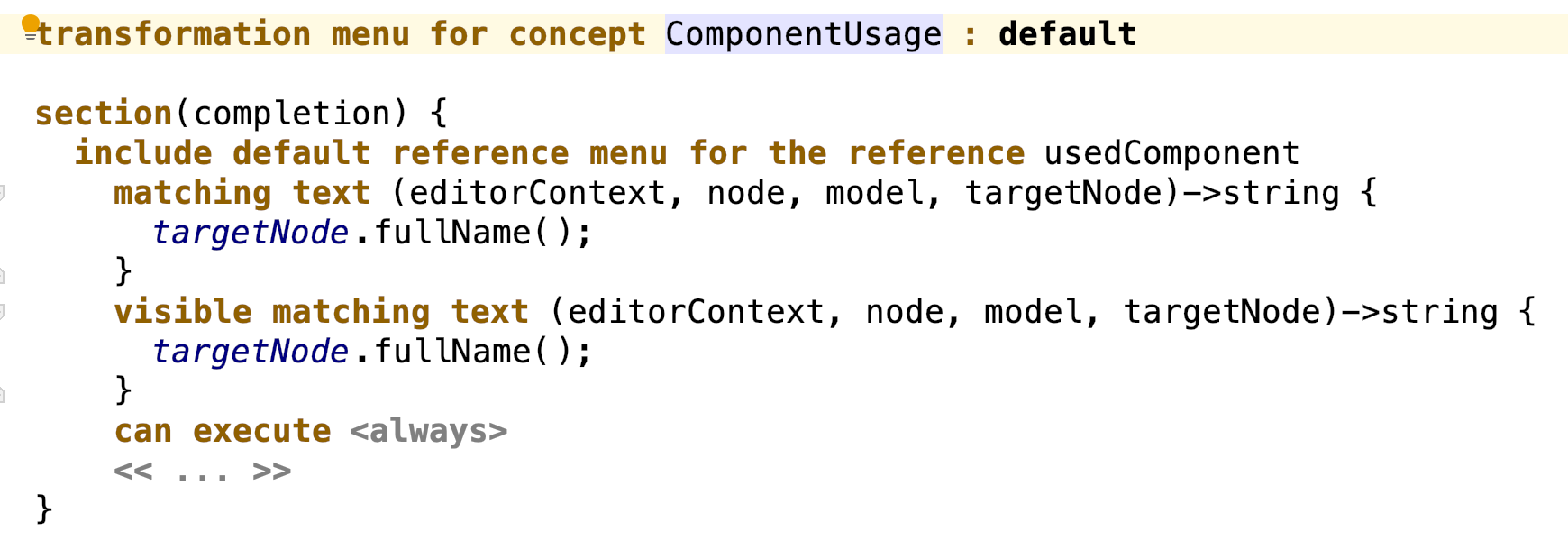 Class creator completion menu