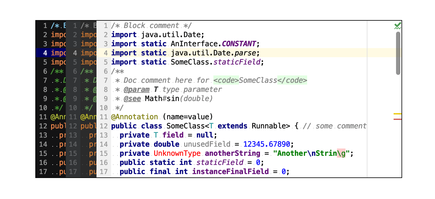 Default color schemes for Java