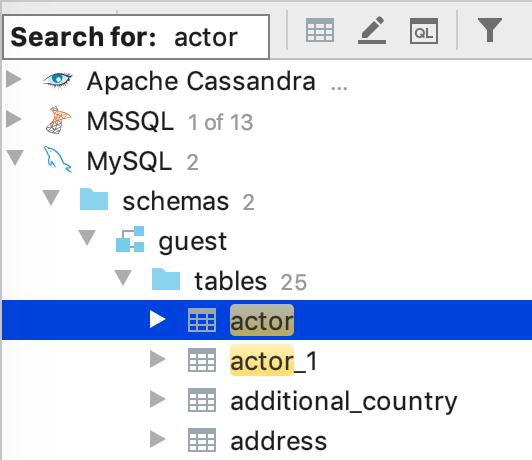 Find an object in the database tree view