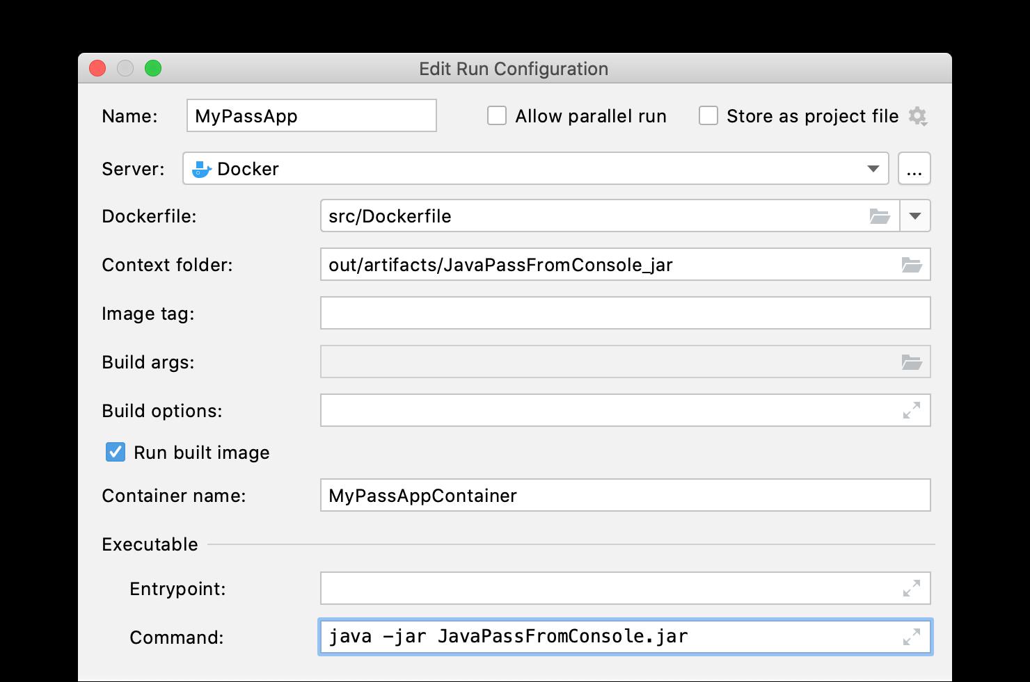 Docker run configuration from Dockerfile