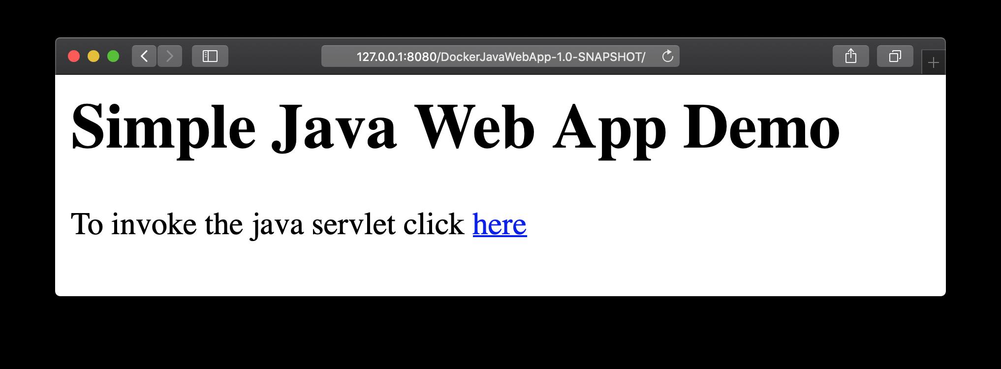 Simple Java Web App Demo start page