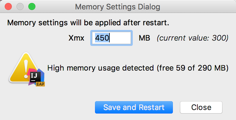 The Memory Settings dialog