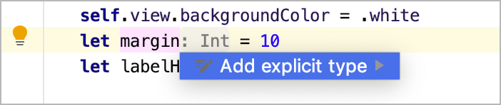 Add explicit type intention action