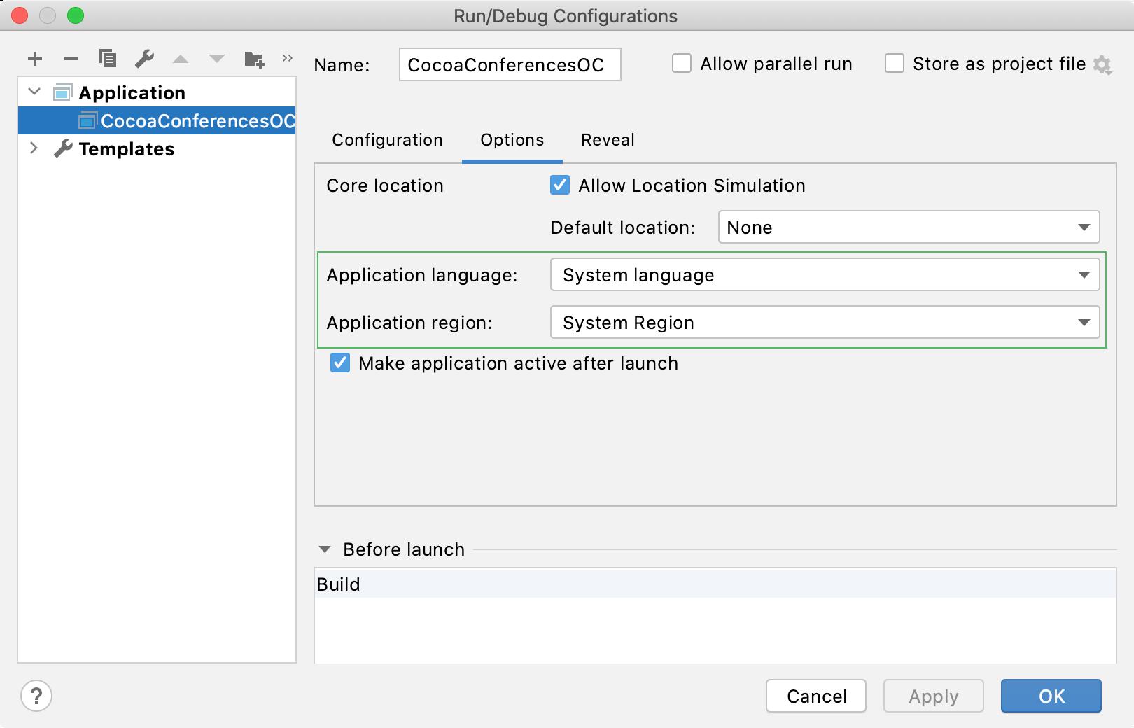 Change application language