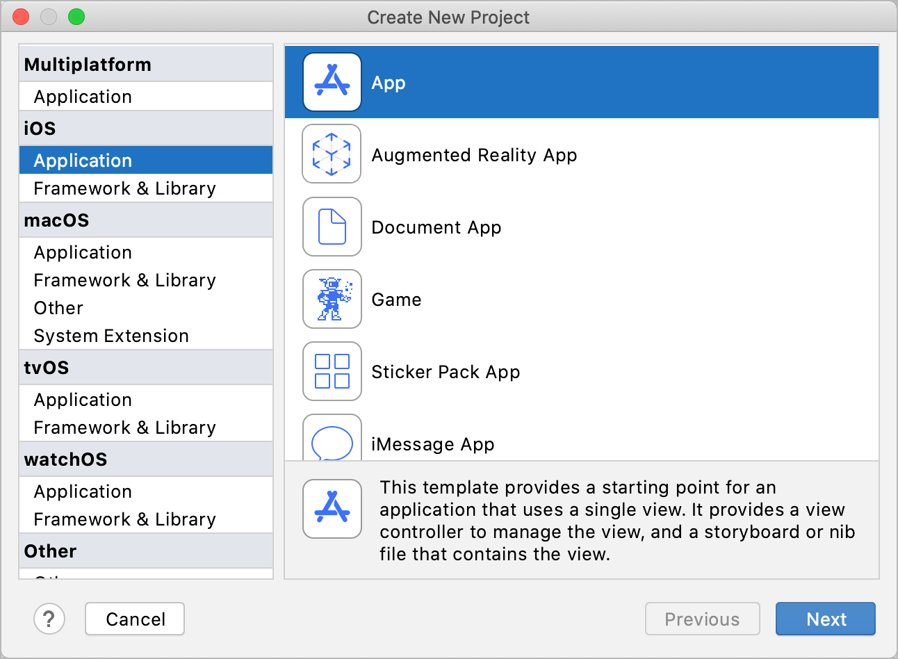 Create a new project: project templates