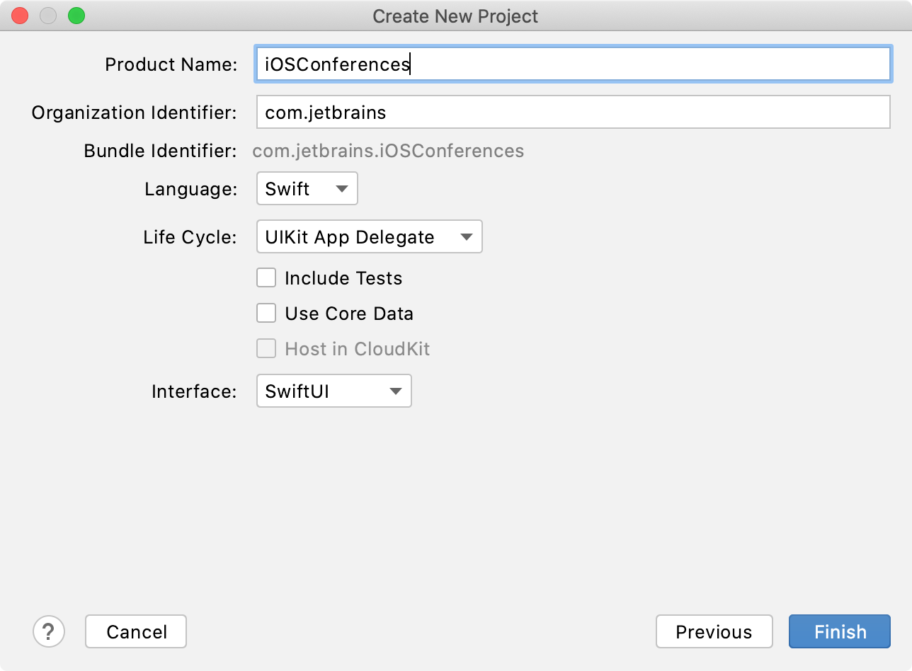 Create a new project: project settings