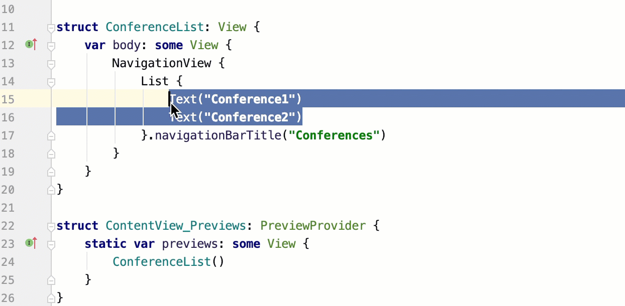 Surround code with the live template