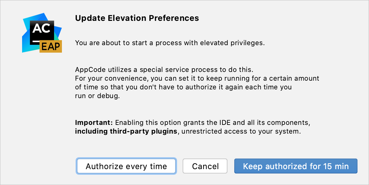 Authorization preferences dialog