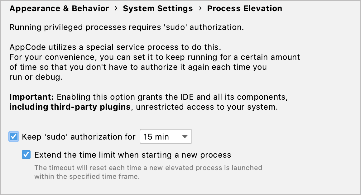 Authorization time settings