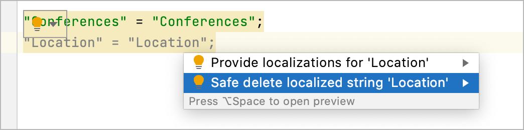Delete localized string quick-fix