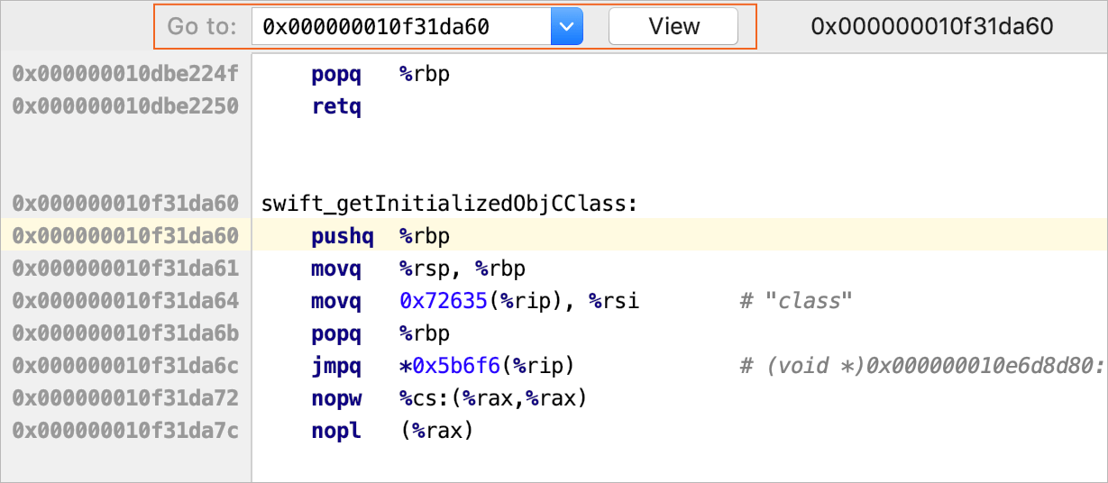 Go to function in the disassembly view