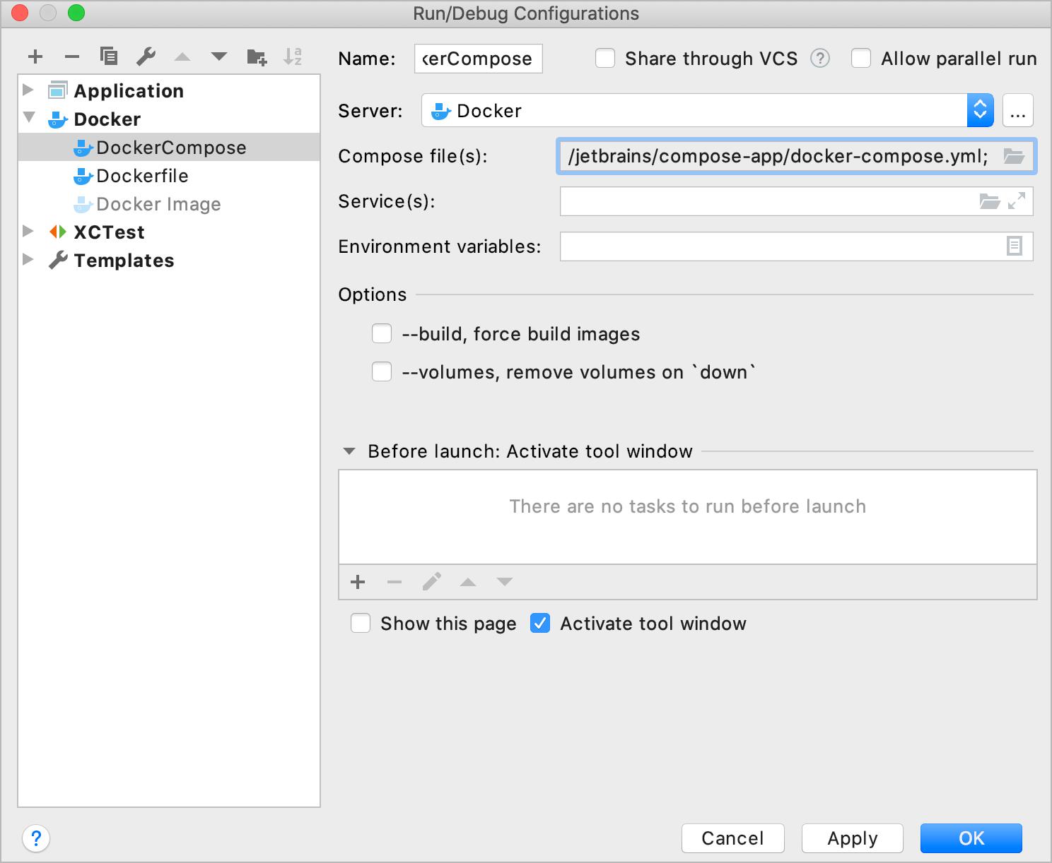 The Docker-compose configuration
