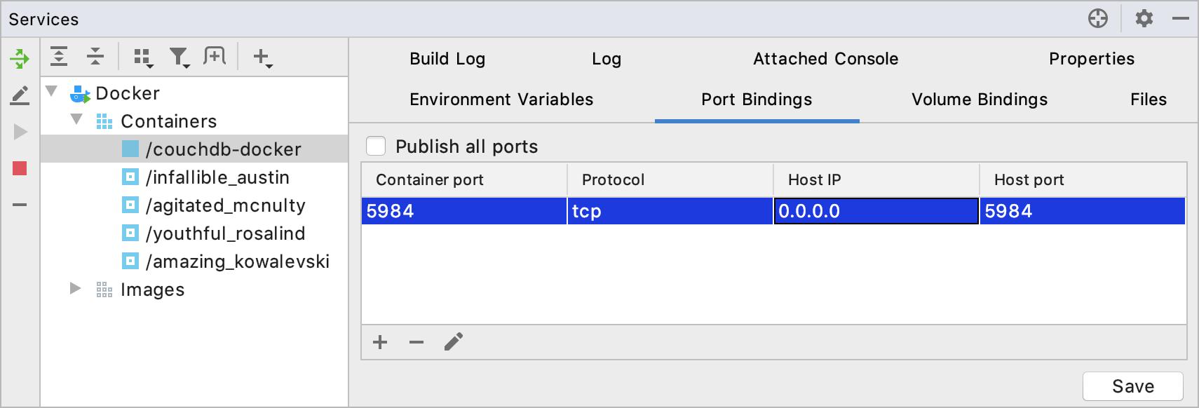 The Port Bindings tab