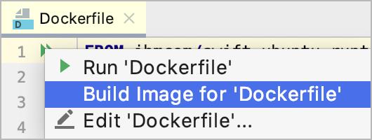 The Build Image on Docker popup