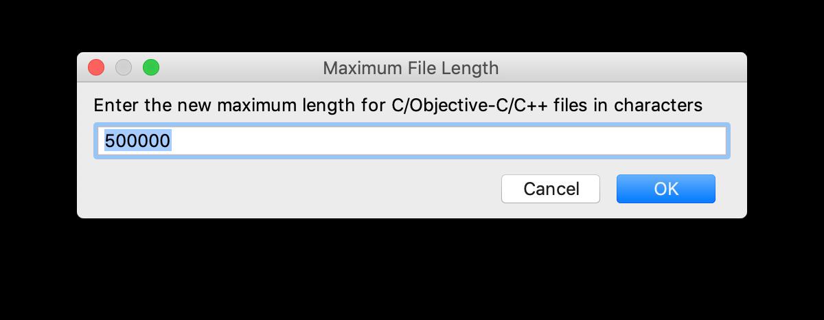 The Maximum File Length dialog