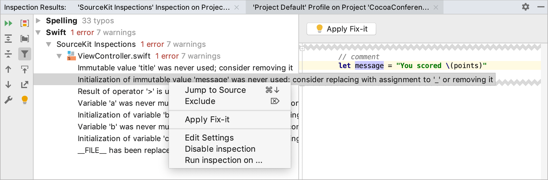 Inspection results tool window