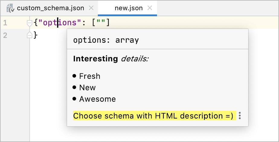 HTML descriptions in documentation for JSON schema definitions with x-intellij-html-description property