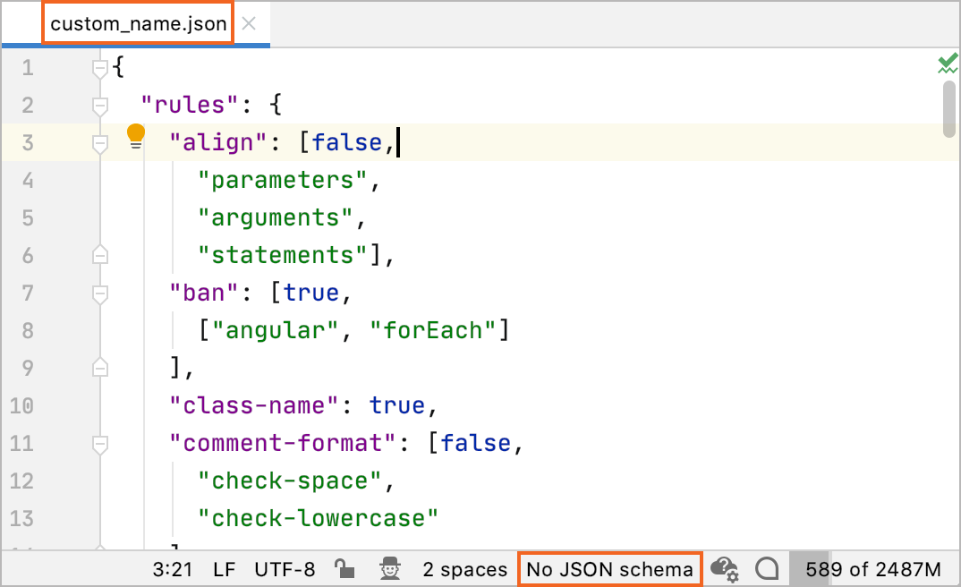 No JSON schema for the current file