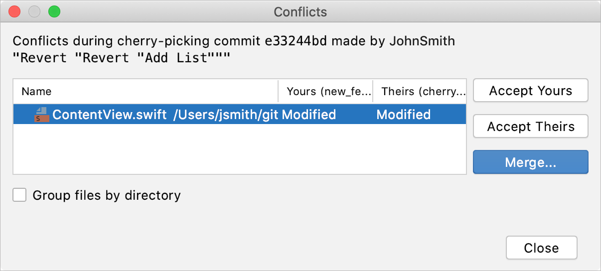 AppCode: VCS operation conflicts dialog