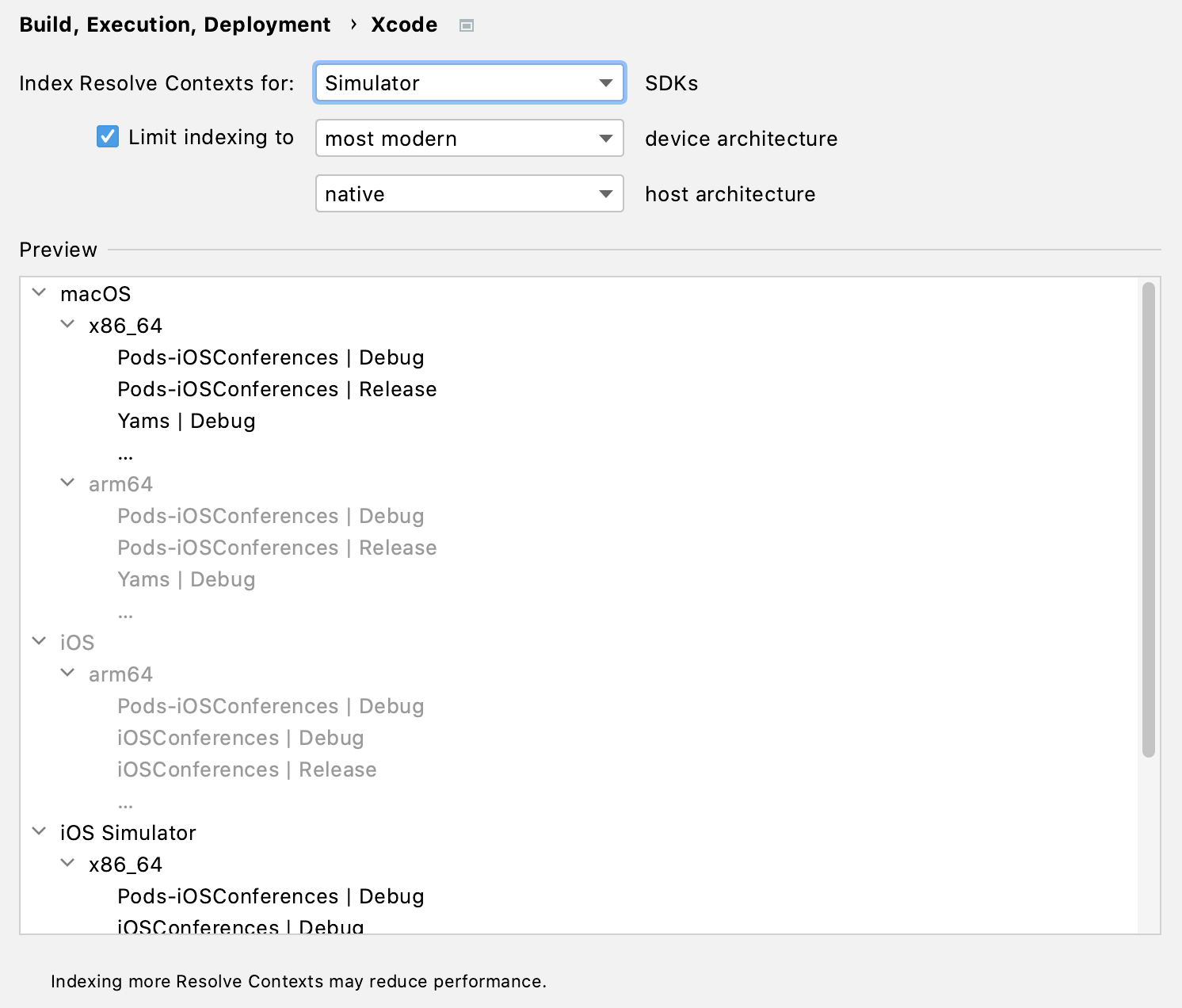 Resolve Context indexing settings