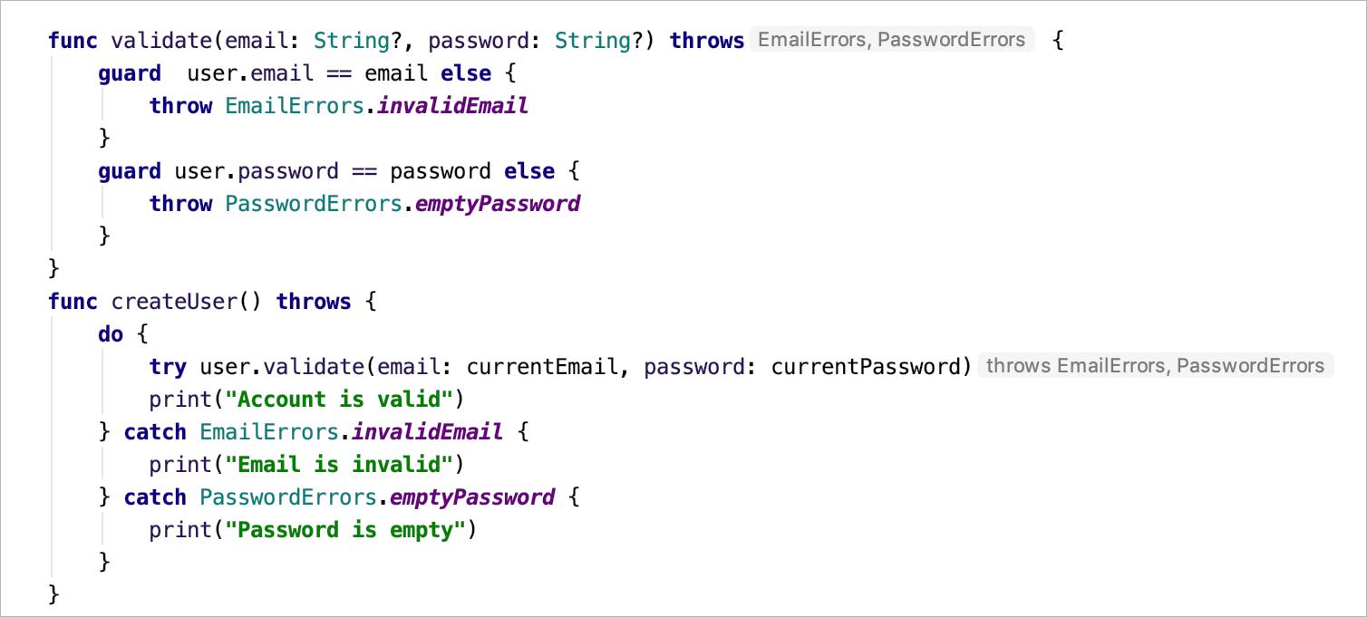 Swift error hints shown