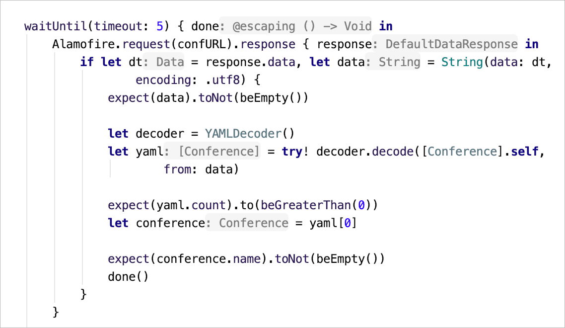 Swift type hints shown