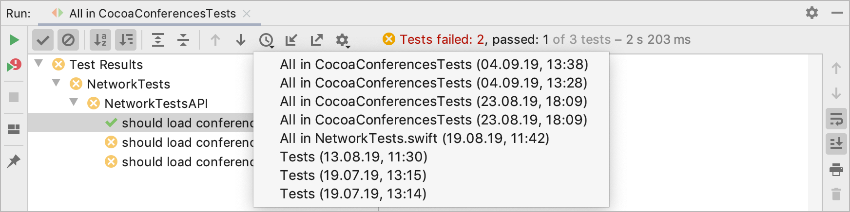 Viewing results of previous tests