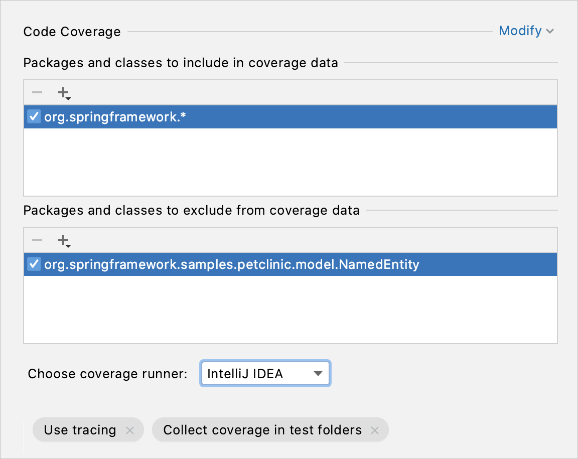 Code Coverage in the Run/debug Configuration dialog