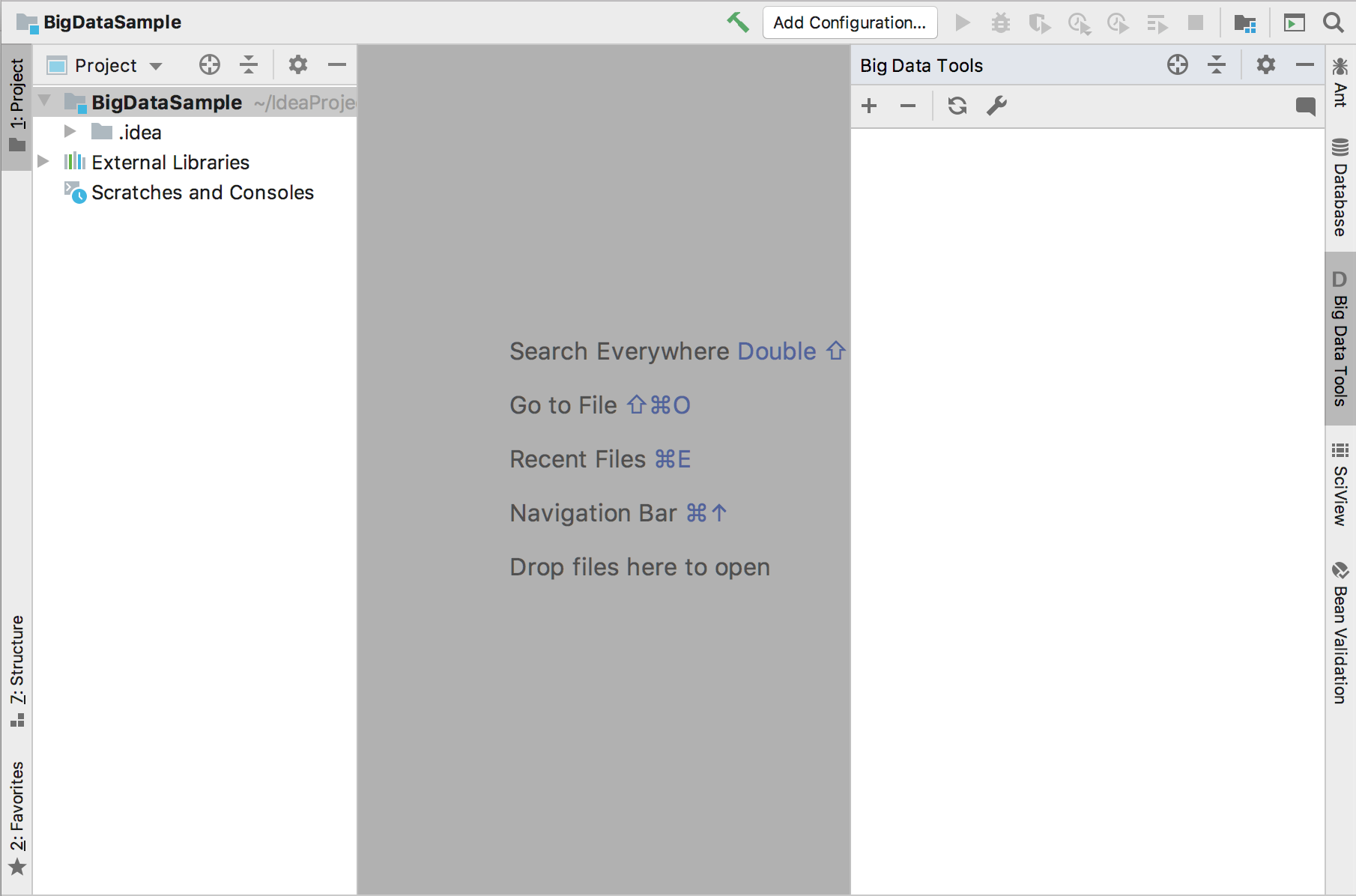 The view of IDEA Ultimate after the Big Data Tools plugin is installed