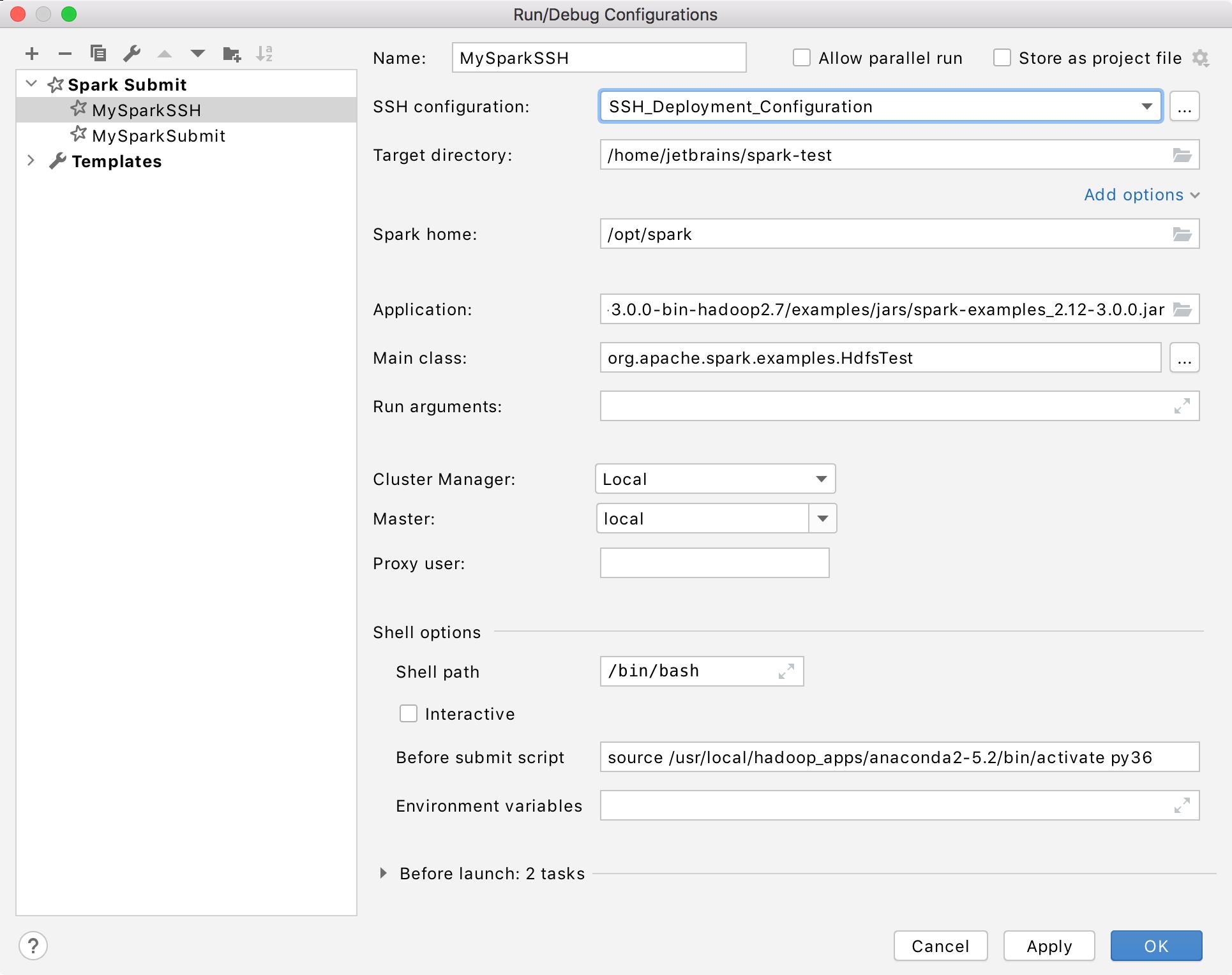 SSH Spark Submit configuration