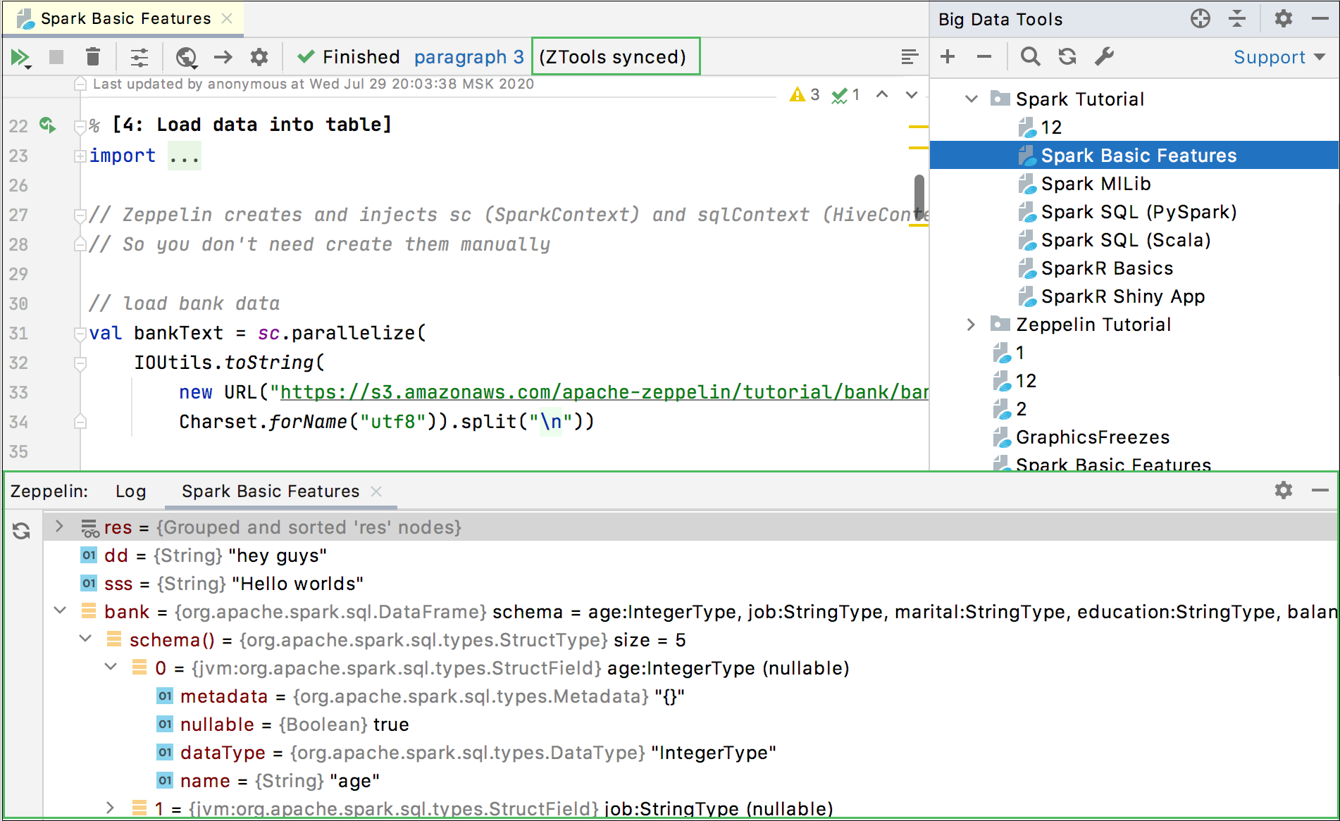 View variables in Zepplin tool window