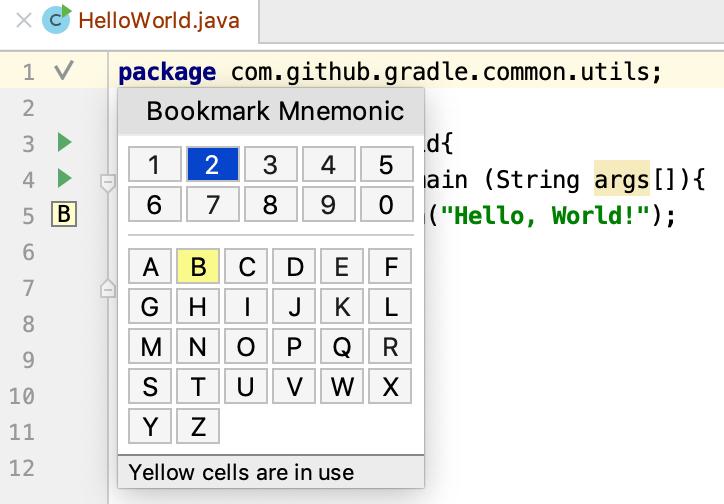 bookmarks with mnemonics