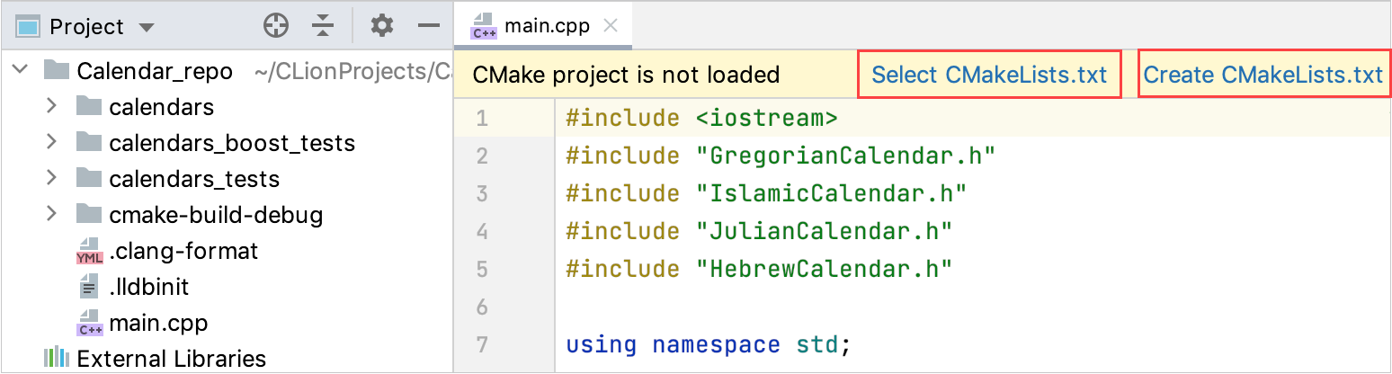 Create or select CMakeLists.txt