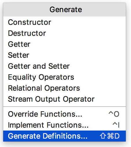 Cl generate definitions popup