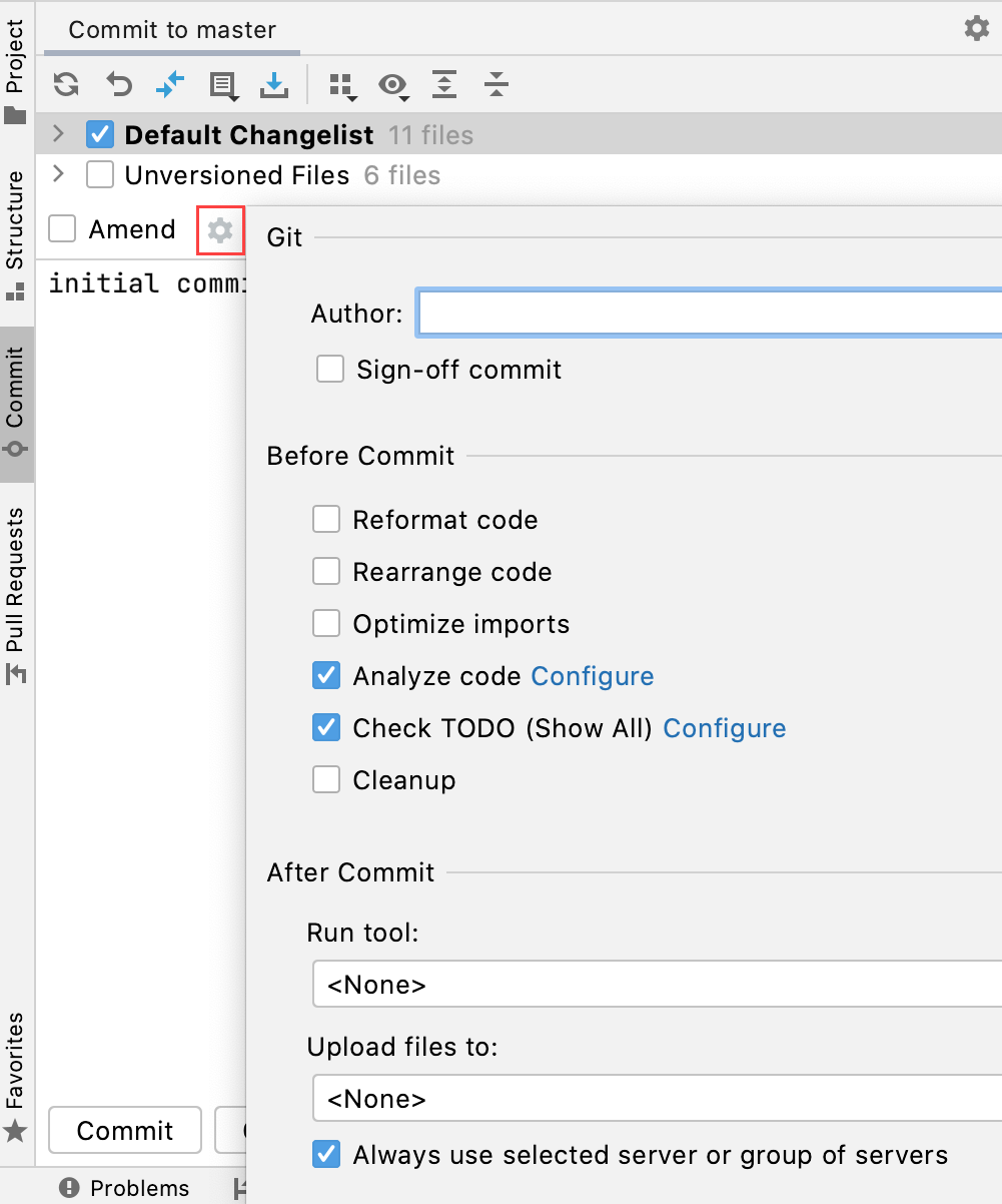 advanced commit options popup