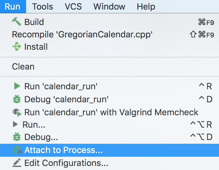 Attach to Process menu item