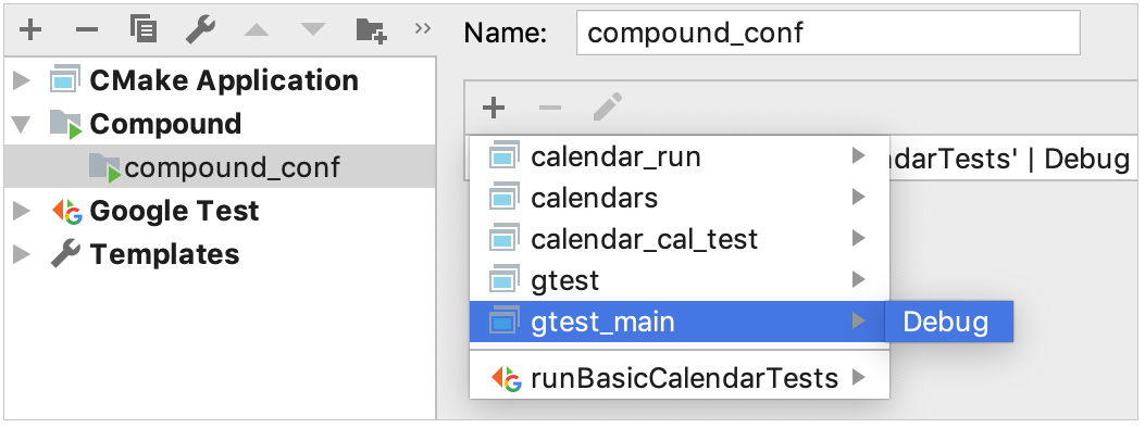 cmake profile for a configuration included in compound