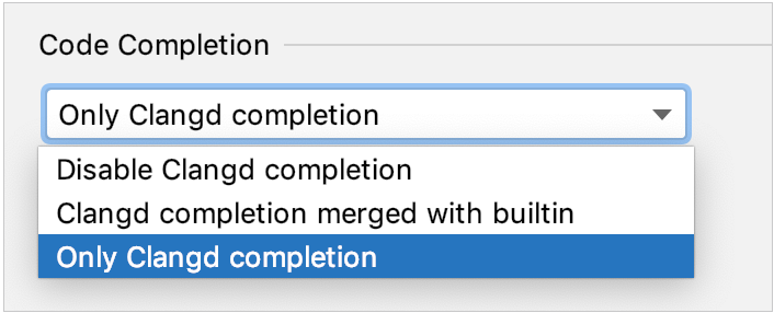 Clangd completion options