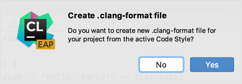 Create .clangformat from the current code style