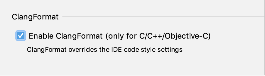 Enable ClangFormat in the code style settings dialog