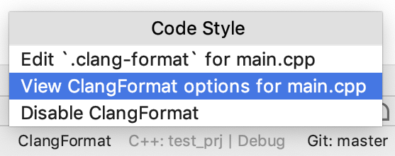 view ClangFormat settings for a file
